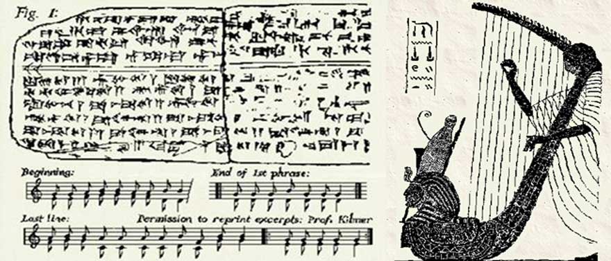 A drawing of one side of the tablet on which the hymn is inscribed. The song is a cult hymn that was discovered on a set of tablets found in the ancient Syrian city of Ugarit in the early 1950s. The top part of the tablet contained the words and the bottom half was instructions for playing the music
