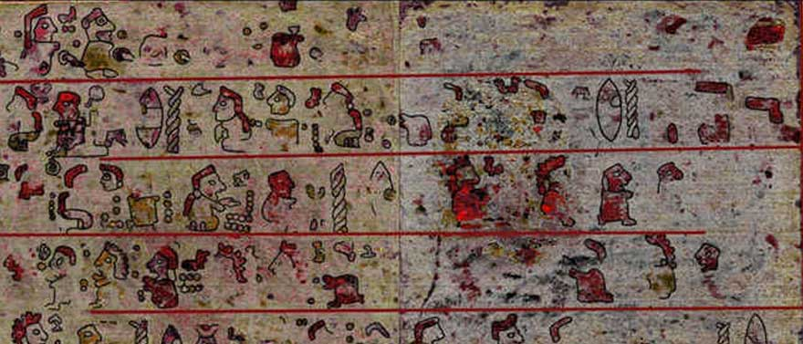 Hyperspectral imaging revealed hidden pictographic scenes underneath a layer of plaster and chalk, which are not visible to the naked eye. Credit: Copyright Journal of Archaeological Sciences: Reports, 2016 Elsevier